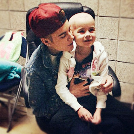 Justin Bieber visiting a girl in hospital with Leukemia