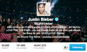 Justin Bieber's Twitter Followers