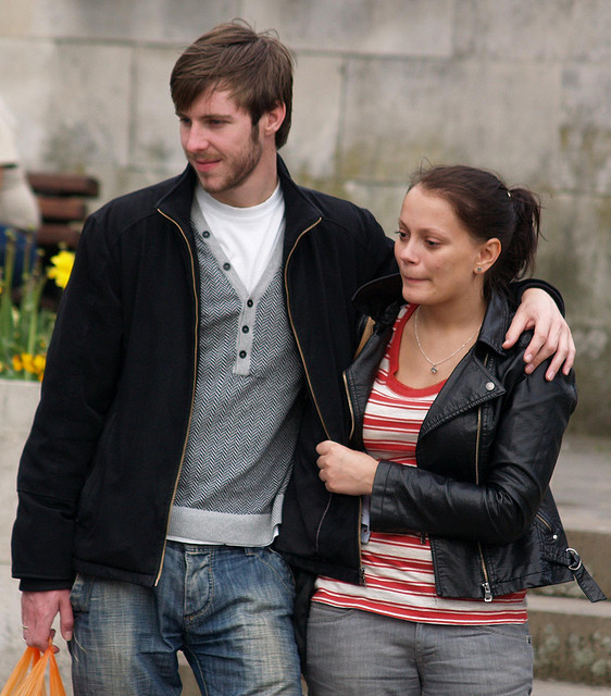 A couple in public