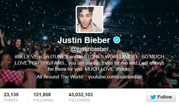 Justin Bieber Twitter Account