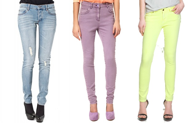 Tight denim jeans