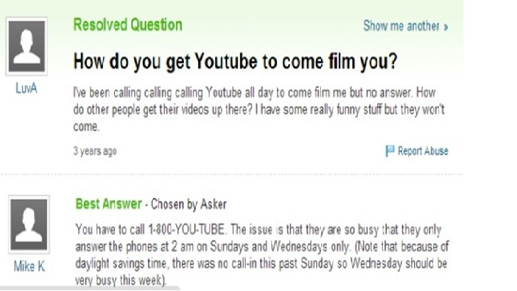 Hilarious Yahoo question about YouTube