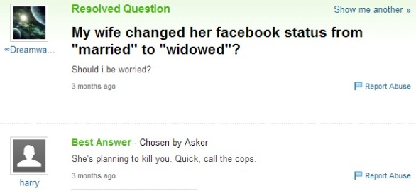 """My wife changed her Facebook status from """"married"""" to """"widowed"""""""