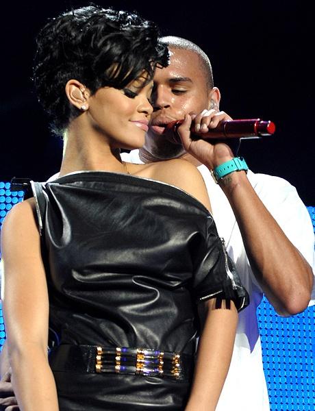 Rihanna and Chris Bron onstage