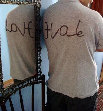 Love and hate in mirror